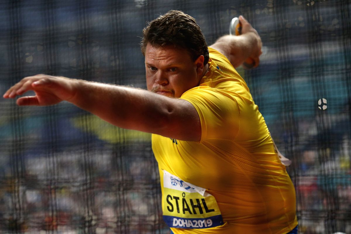 DOHA, Oct. 1, 2019 (Xinhua) -- Daniel Stahl of Sweden competes during the men's discus throw final at the 2019 IAAF World Championships in Doha, Qatar, Sept. 30, 2019. (Xinhua/Li Ming/IANS)
