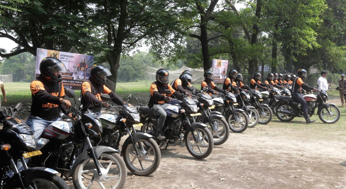Drivers of One Man Taxi during the launch of Bike-taxi service