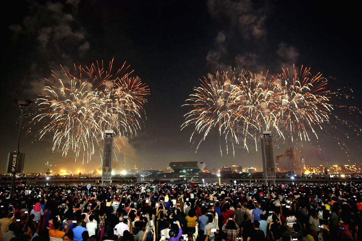 DUBAI, Dec. 2, 2018 (Xinhua) -- Fireworks are displayed at Dubai Festival City in Dubai, the United Arab Emirates, Dec. 2, 2018. The United Arab Emirates (UAE) celebrated its 47th National Day on Sunday.  (Xinhua/Mahmoud Khaled/IANS)