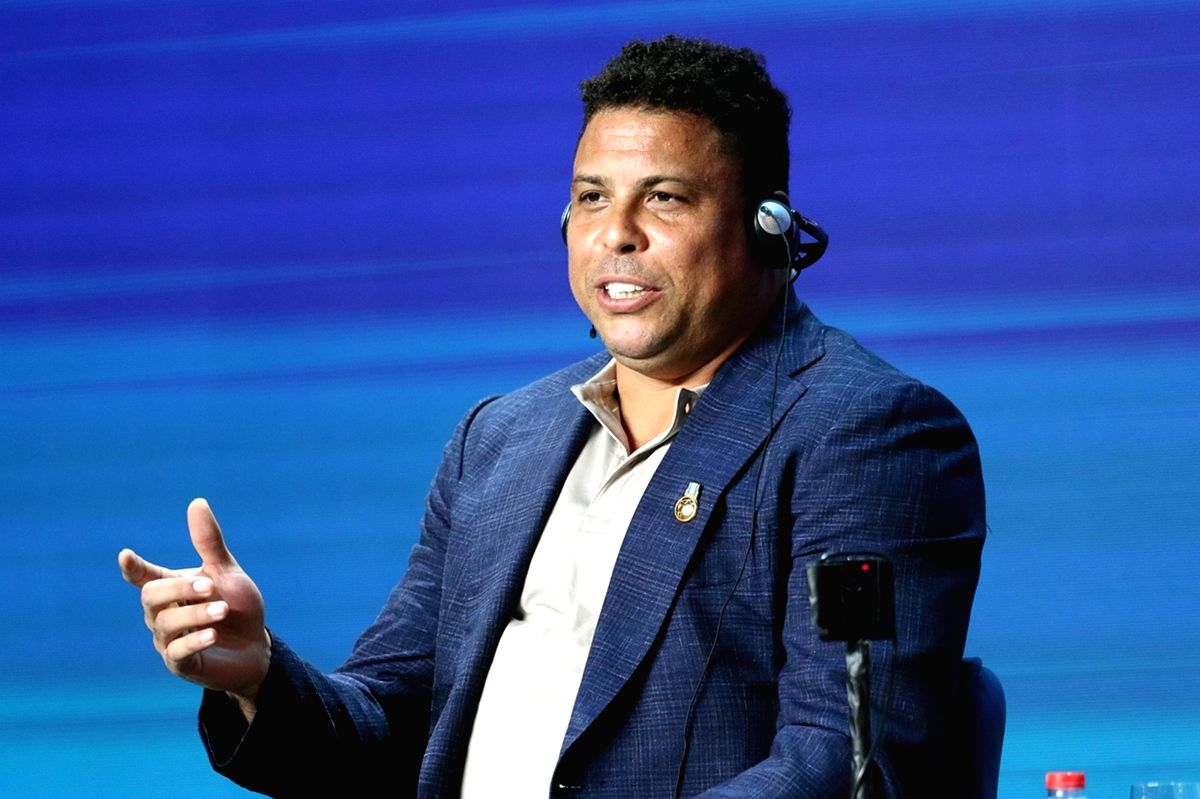 DUBAI, Jan. 2, 2019 (Xinhua) -- Ronaldo Nazario de Lima, Chairman of Real Valladolid speaks during the 13th edition of the Dubai International Sports Conference, at Madinat Jumeirah in Dubai, the United Arab Emirates (UAE), on Jan. 2, 2018. (Xinhua/M