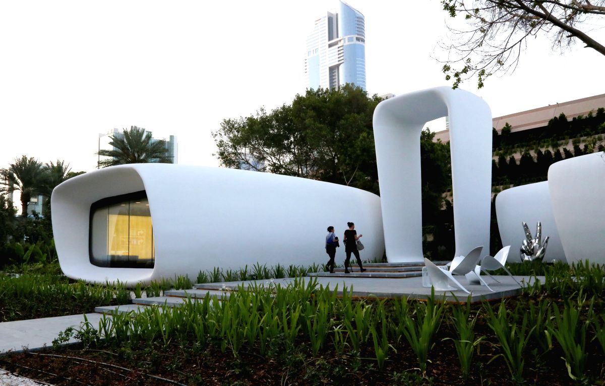 "(Pictured) The world's first functional 3D printed building in Dubai, the United Arab Emirates (UAE). The world's first functional 3D printed building, which was inaugurated on May 23 in Dubai, is an office space covering up to 250 square metres, with its exterior design reflecting ""the most innovative forms of the future workplace,"""