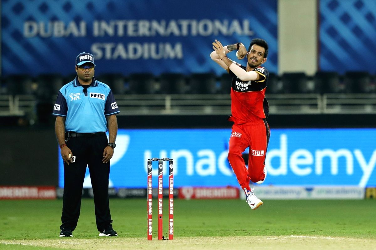 Dubai: Yuzvendra Chahal of Royal Challengers Bangalore bowling during match 10 of season 13 of the Dream 11 Indian Premier League (IPL) between The Royal Challengers Bangalore and The Mumbai Indians held at the Dubai International Cricket Stadium, Du