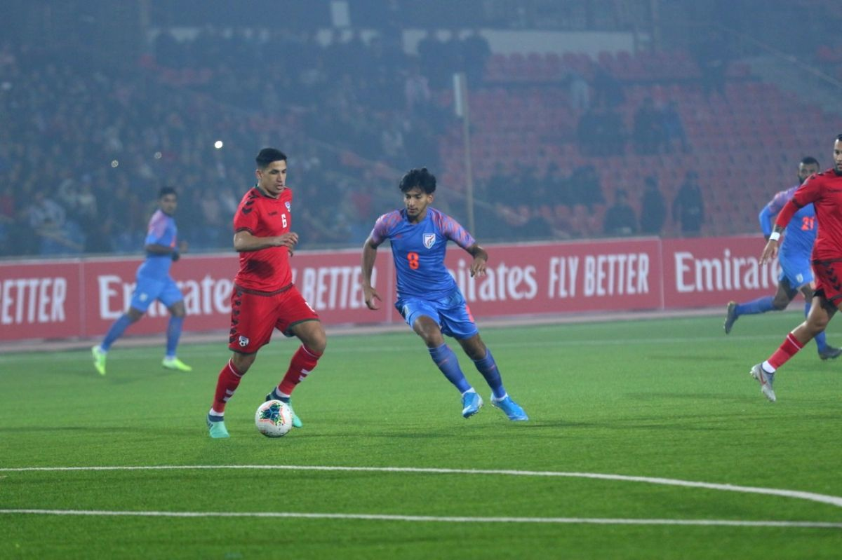 Dushanbe: Players in action during a FIFA World Cup Qualifier match between Afghanistan and India at Central Republic Stadium in Dushanbe, Tajikistan on Nov 14, 2019.