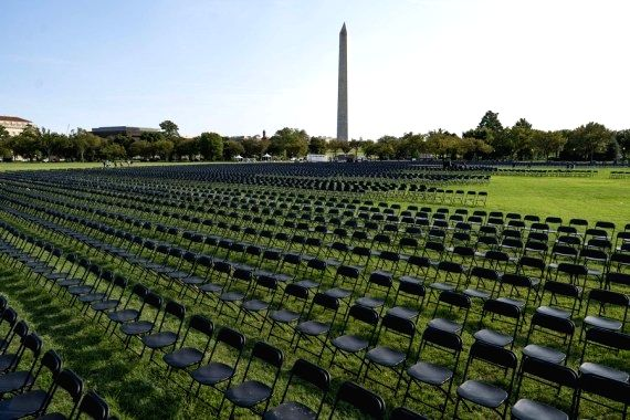 Empty chairs are set up to mourn the lives lost in the U.S. from COVID-19 on the Ellipse near the White House in Washington, D.C., the United States, on Oct. 4, 2020. (Xinhua/Liu Jie/IANS)
