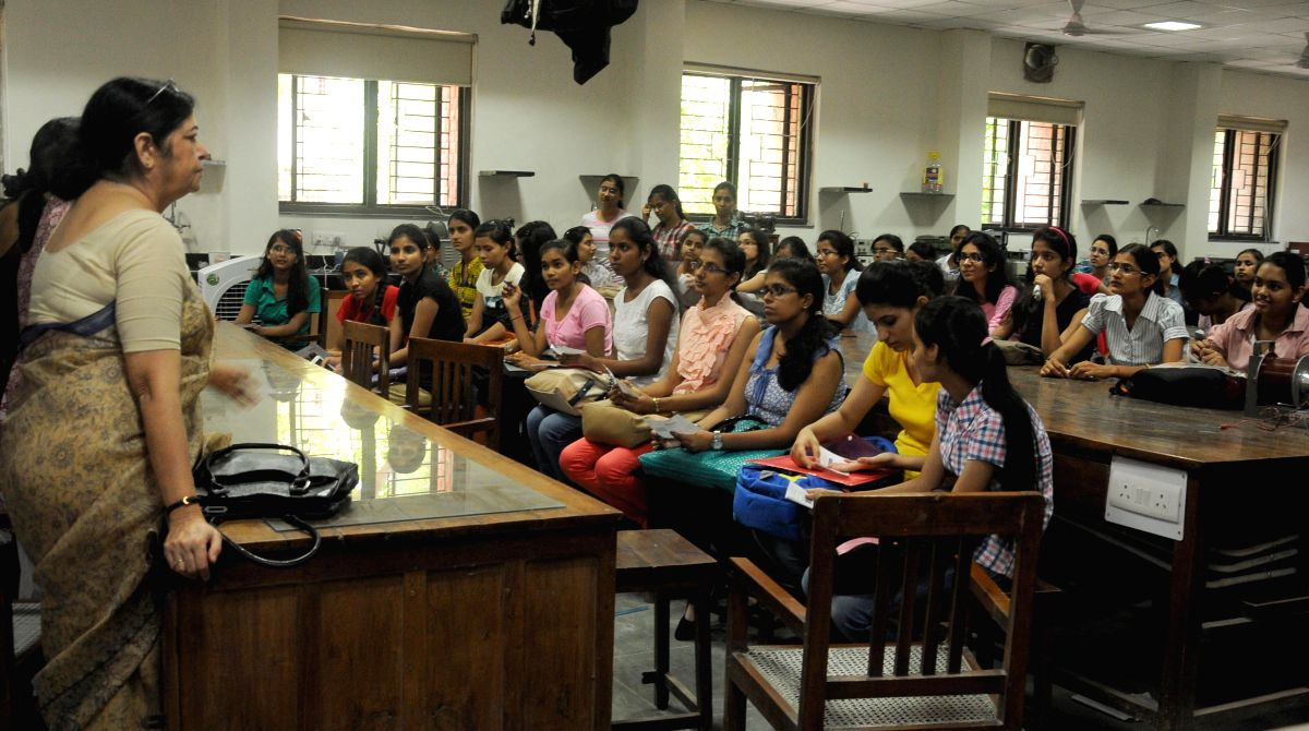 Freshers in classroom on Day -1 of their college lives in New Delhi on July 21, 2014.