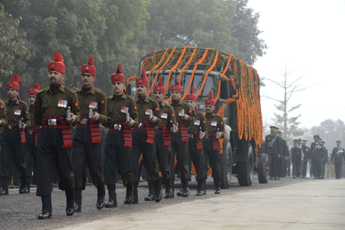 Funeral procession of Lt Gen JFR Jacob who passed away on 13th Jan 2016, in New Delhi, on Jan 14, 2016.