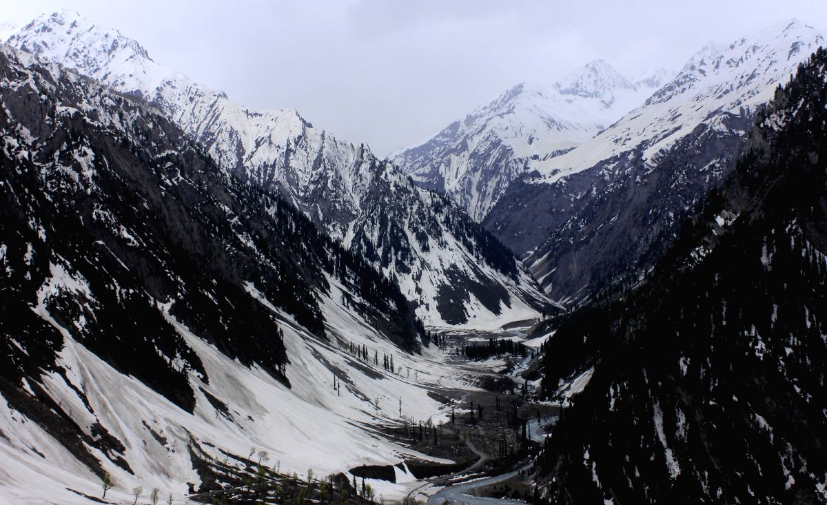 A view of snow-covered mountain in Baltal, Sonamarg on the way to Amarnath in Ganderbal district of Jammu and Kashmir.