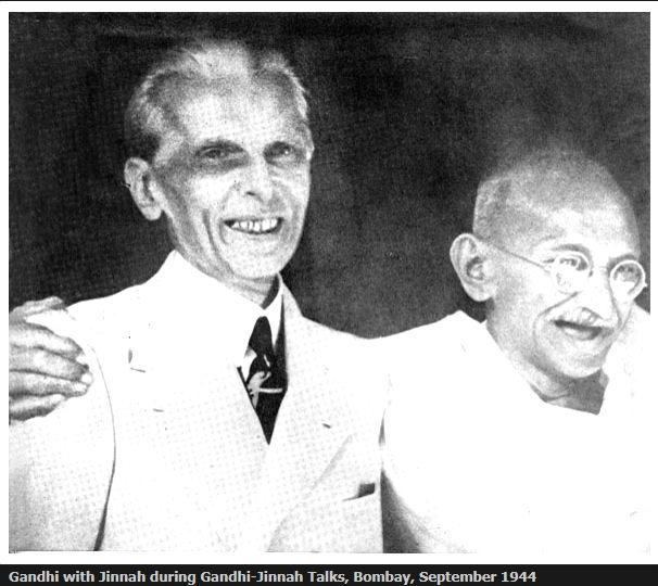 Gandhi with Jinnah during Gandhi-Jinnah Talks, Bombay, September 1944. (Photo Courtesy: mkgandhi .org)