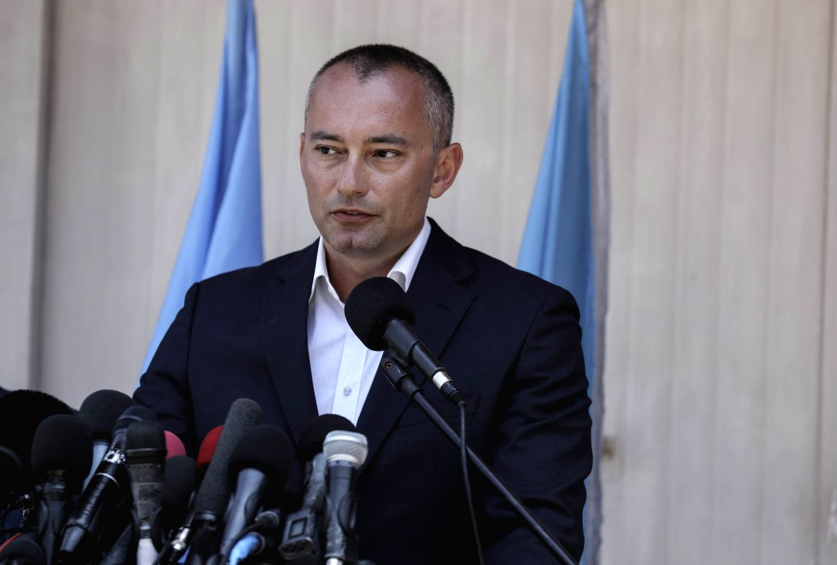 GAZA, July 15, 2018 (Xinhua) -- Nickolay Mladenov, UN special coordinator for the Middle East peace process, speaks during a press conference in Gaza City, on July 15, 2018. The United Nations special envoy on Sunday called on both Israel and the Pal