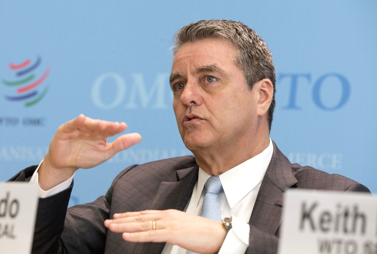 GENEVA, April 2, 2019 (Xinhua) -- Roberto Azevedo, Director-General of the World Trade Organization (WTO), gestures at a press conference in Geneva, Switzerland, April 2, 2019. The World Trade Organization (WTO) on Tuesday lowered its forecast for gl