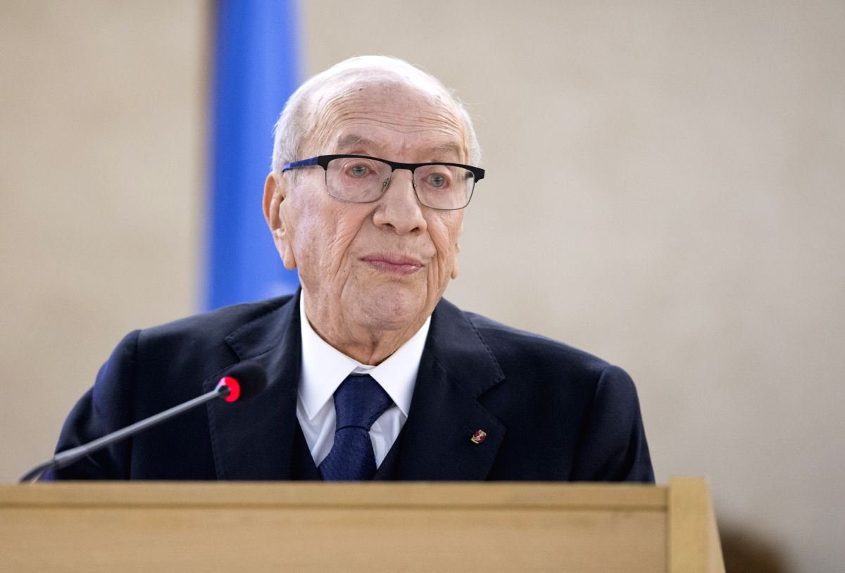 GENEVA, Feb. 25, 2019 (Xinhua) -- Tunisian President Beji Caid Essebsi delivers a speech at the opening of the 40th regular session of the UN Human Rights Council (UNHRC) in Geneva, Switzerland, Feb. 25, 2019. The UNHRC opened its 40th regular sessio