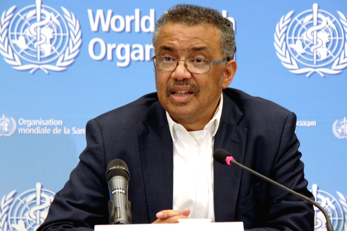 GENEVA, Jan. 23, 2020 (Xinhua) -- Tedros Adhanom Ghebreyesus, director-general of the World Health Organization (WHO), speaks at a press conference after the WHO emergency committee's meeting on the novel coronavirus in China at its headquarters in G