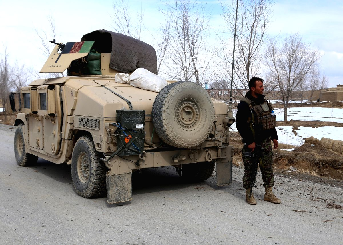 GHAZNI, Feb. 20, 2019 (Xinhua) -- An Afghan security force member takes part in a military operation in Andar district of Ghazni province, Afghanistan, Feb. 19, 2019. Afghan forces in crackdown operations have killed 10 militants in the eastern Ghazn