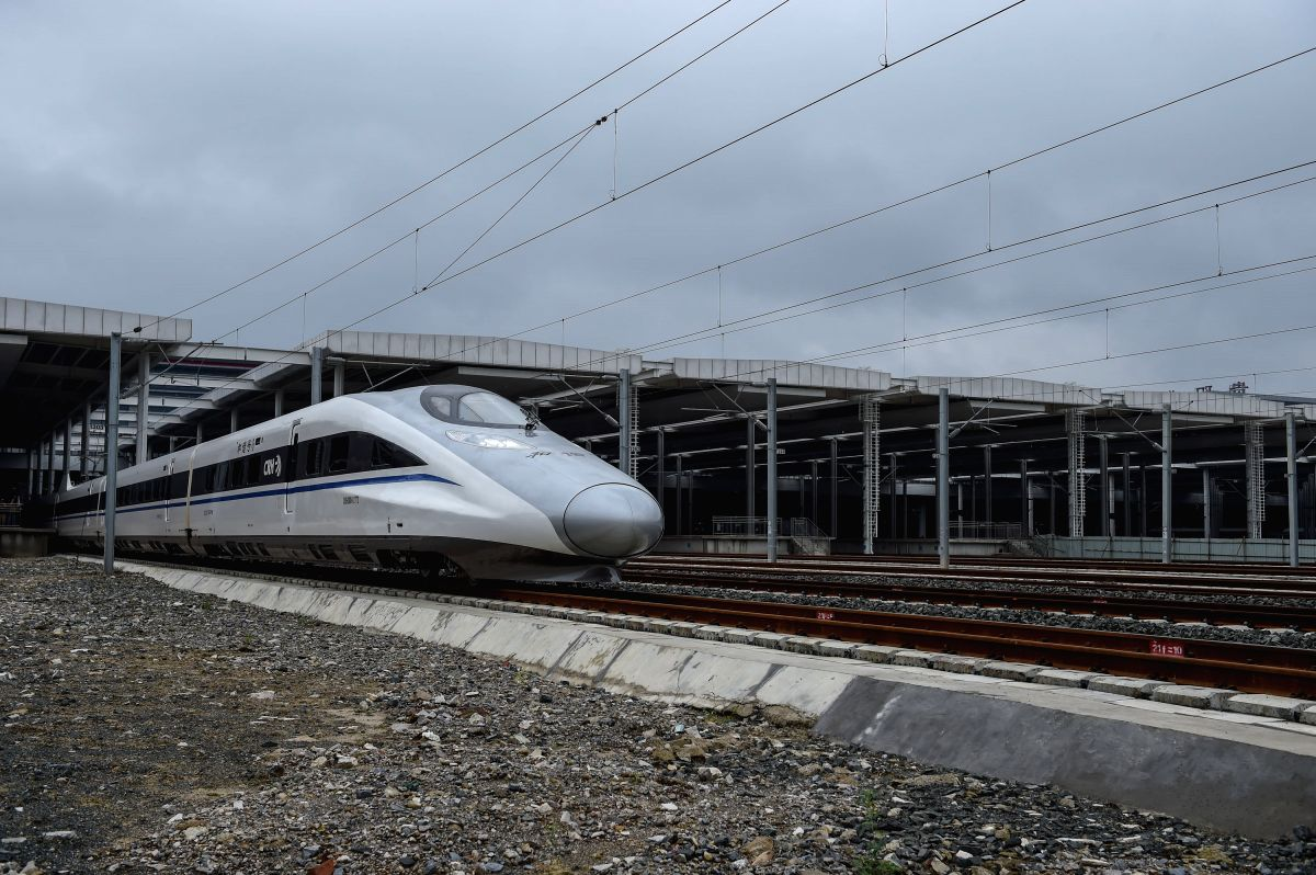 GUIYANG, June 18, 2015 (Xinhua) -- The high-speed train G3002 pulls out of Guiyang North Railway Station in Guiyang, capital of southwest China's Guizhou Province, June 18, 2015. A new high speed rail line connecting southwest China's Guizhou Provinc