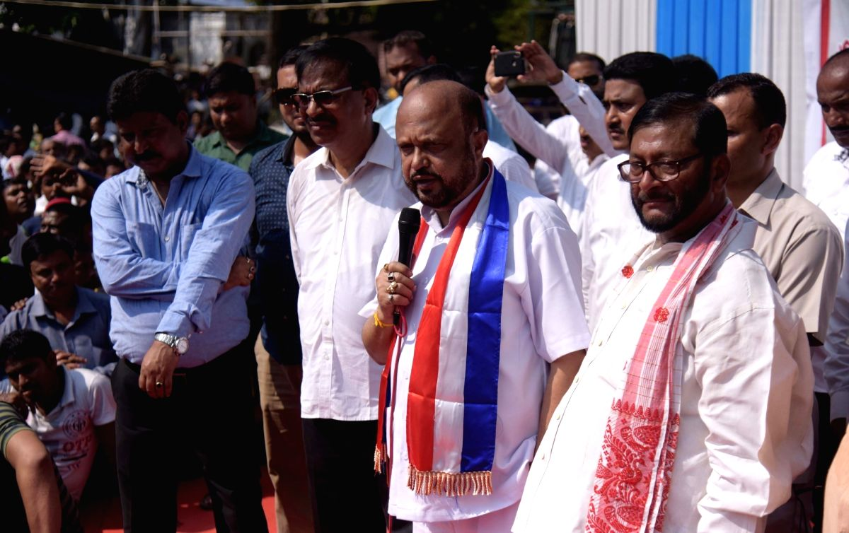 : Guwahati: Asom Gana Parishad (AGP) leader Prafulla Kumar Mahanta addresses during a rally organised by the party in protest against the Joint Parliamentary Committee's (JPC) proposed meeting ...