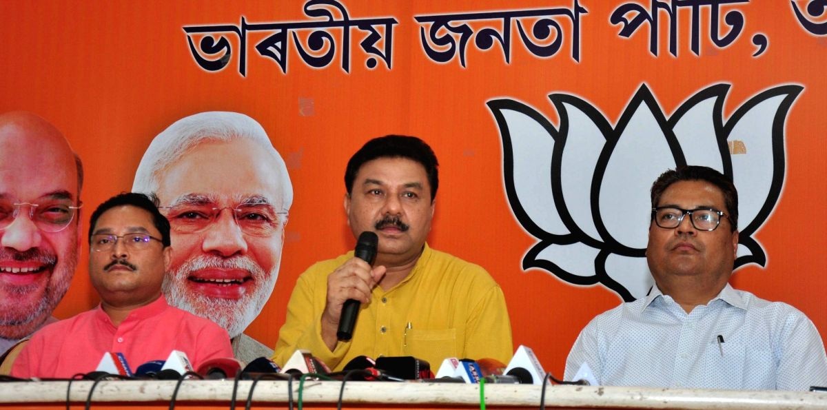 Guwahati: Assam BJP president Ranjeet Kumar Dass addresses a press conference at the state party headquarters in Guwahati on Aug 9, 2019. Trying to allay fears over the existing special constitutional provision from some of the northeastern states, D
