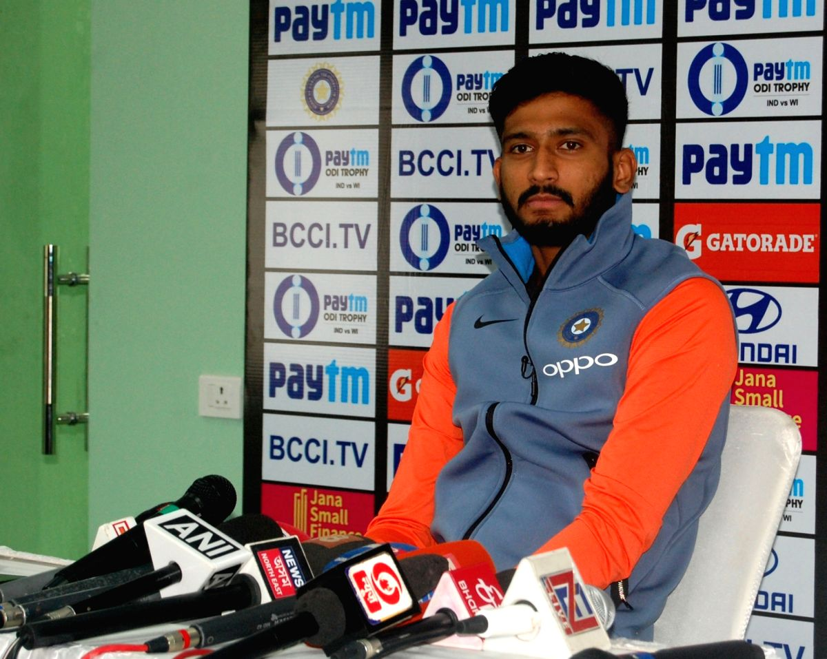 :Guwahati: Indian cricketer Khaleel Ahmed addresses a press conference in Guwahati on Oct 19, 2018. .