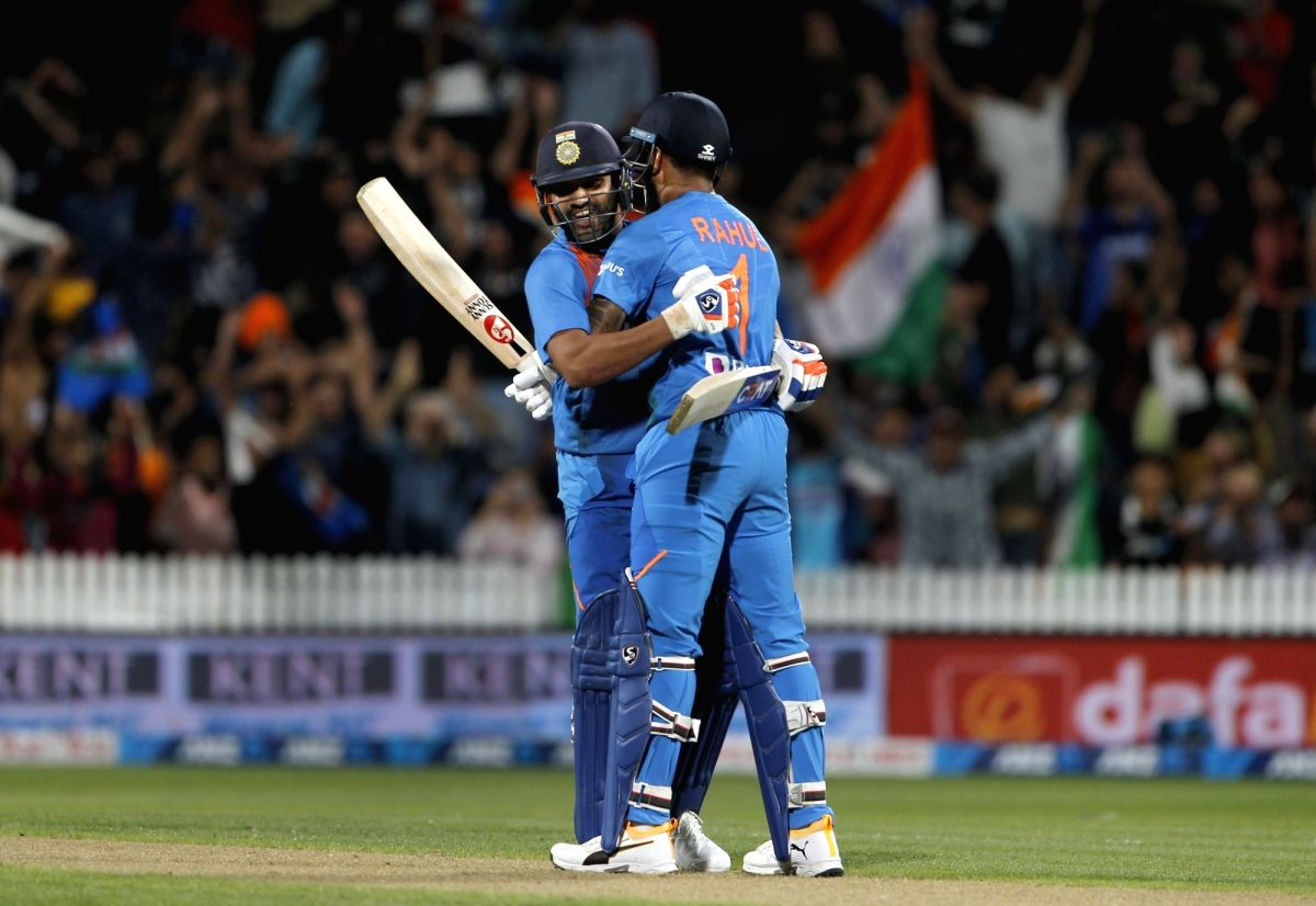 India's Rohit Sharma and Lokesh Rahul celebrate after India chased down New Zealand's score of 17 to win the third T20I and take an unassailable 3-0 lead in the five-match T20I series, at Seddon Park in Hamilton
