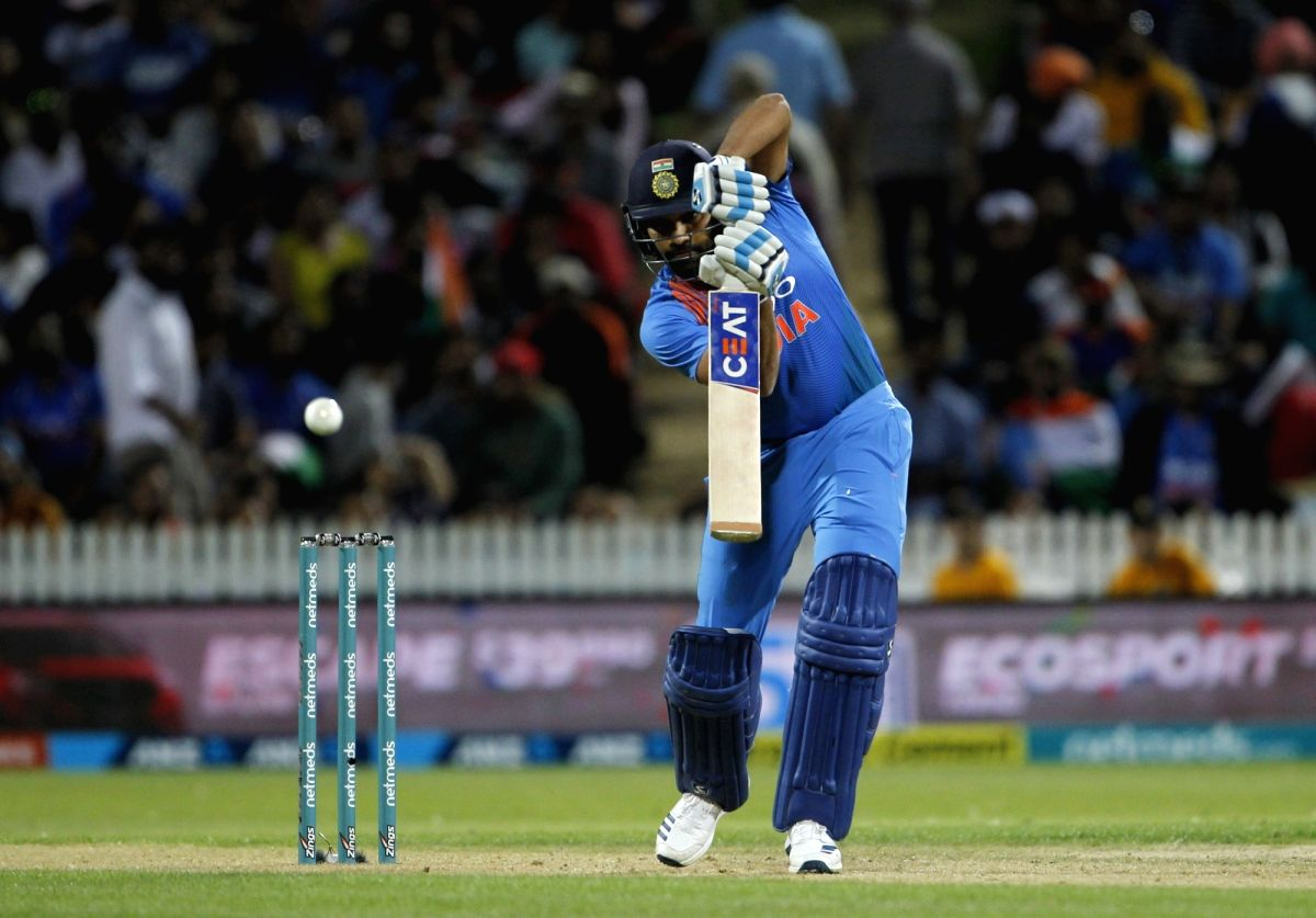 Hamilton: India's Rohit Sharma in action during the third T20I match between India and New Zealand at Seddon Park in Hamilton, New Zealand on Feb 10, 2019. (Photo: Surjeet Yadav/IANS)