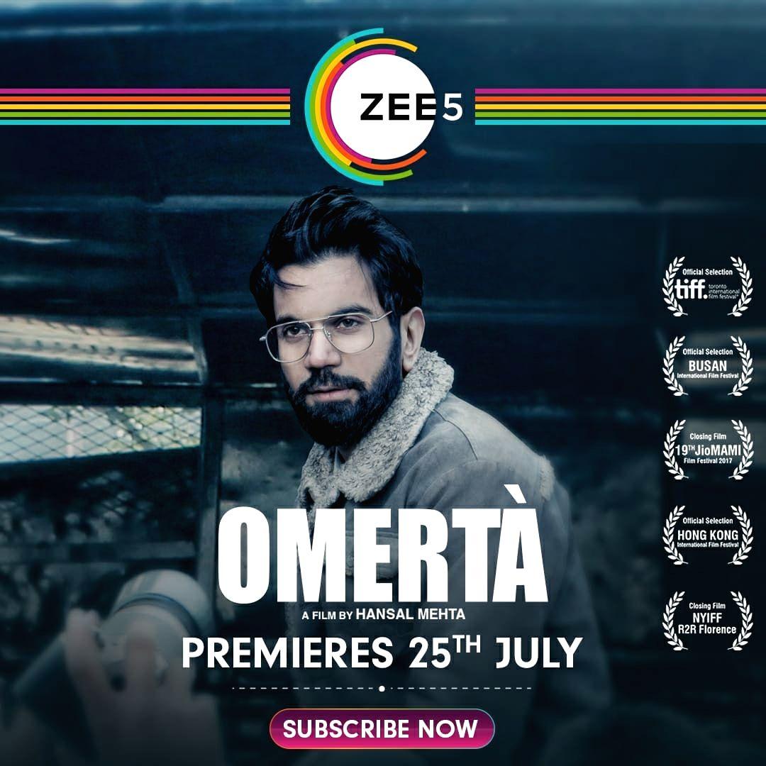 "Hansal Mehta-Rajkummar Rao's ""Omerta"" to stream on ZEE5 from July 25."