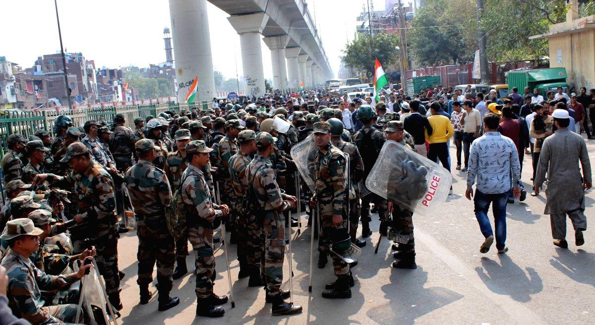 Heavy police force deployed in 9 sensitive areas in Delhi