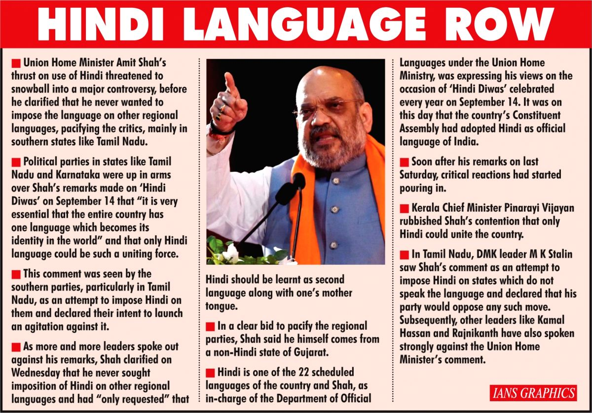 Hindi Language Row. (IANS Infographics)