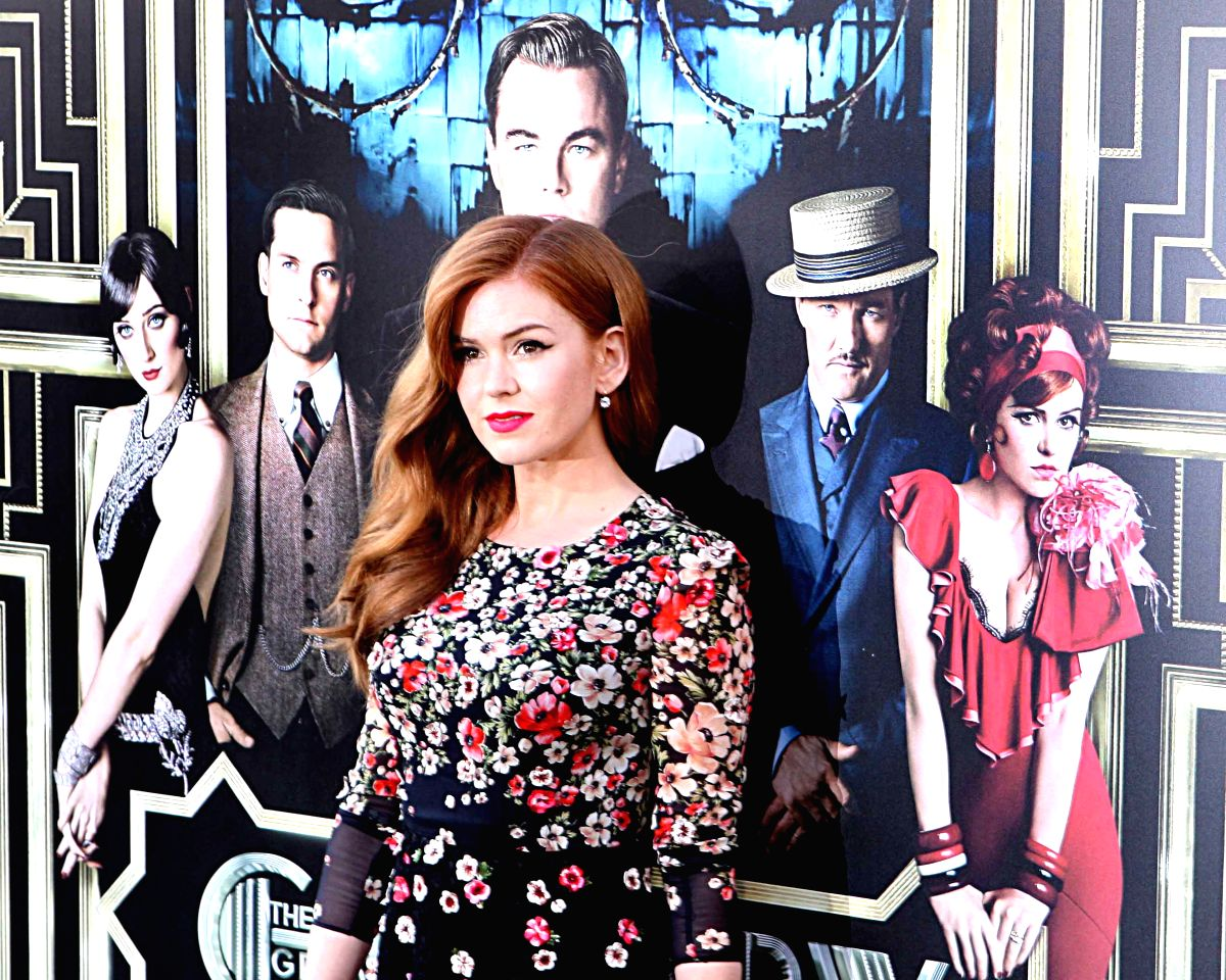 Hollywood actress Isla Fisher at Red Carpet Arrival for World Premiere of ``The Great Gatsby`` at Lincoln Center, Avery Fisher Hall for the Performing Arts in New York.