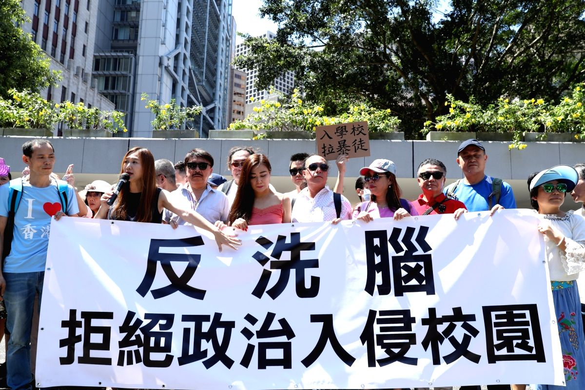 HONG KONG, Sept. 22, 2019 (Xinhua) -- Parents participate in a rally to voice their opposition to violence and call for campus safety in south China's Hong Kong, Sept. 22, 2019. (Xinhua/Luo Huanhuan/IANS)