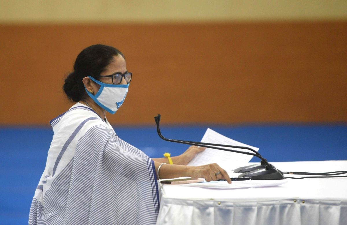 Howrah: West Bengal Chief Minister Mamata Banerjee addresses a press meet at Nabanna in Howrah on July 8, 2020.