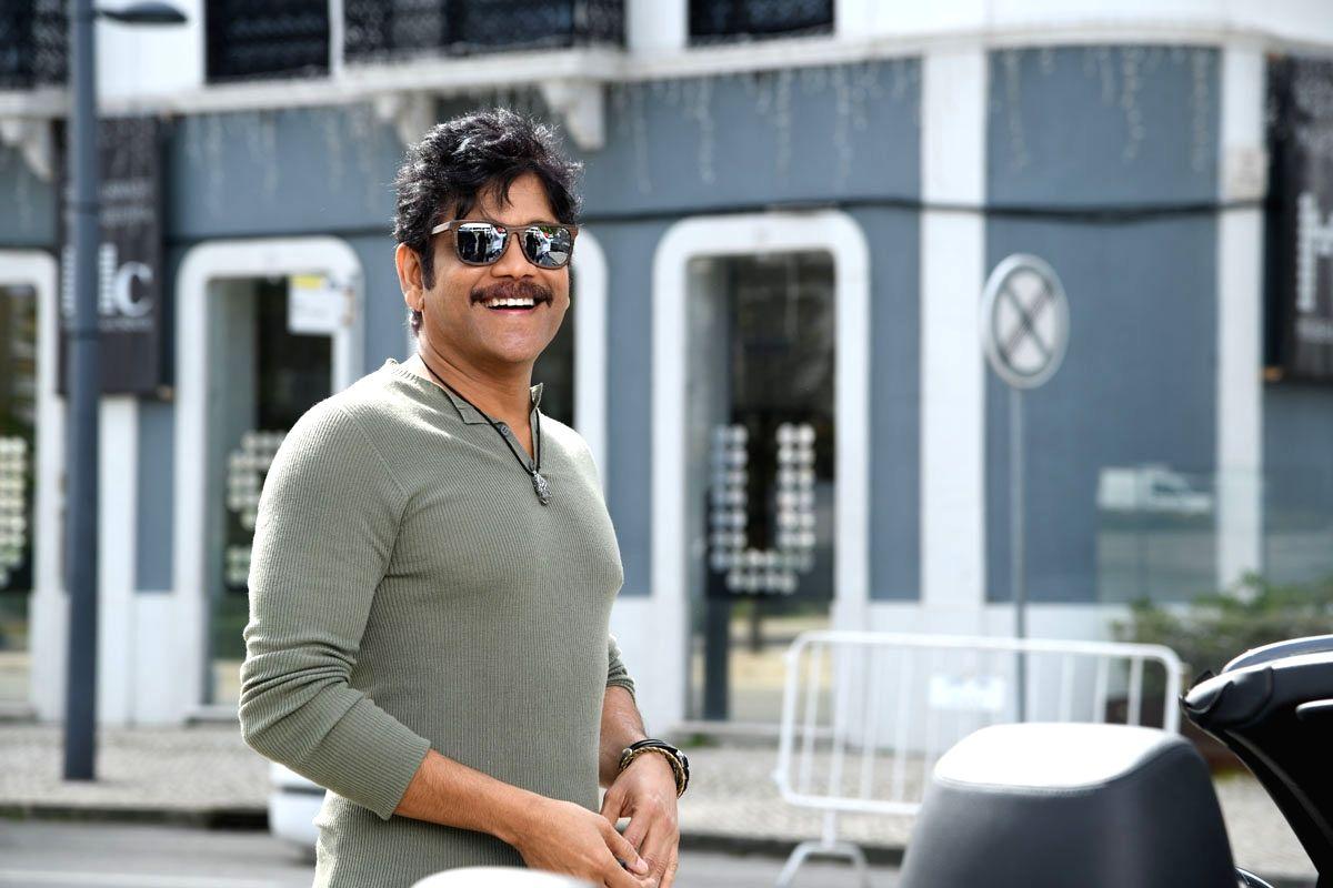 "Hyderabad: Actor Akkineni Nagarjuna stills from Telugu film ""Manmadhudu 2"" in Hyderabad."