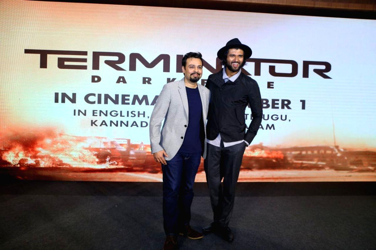"Actor Vijay Deverakonda at the Telugu trailer launch of ""Terminator: Dark Fate"""