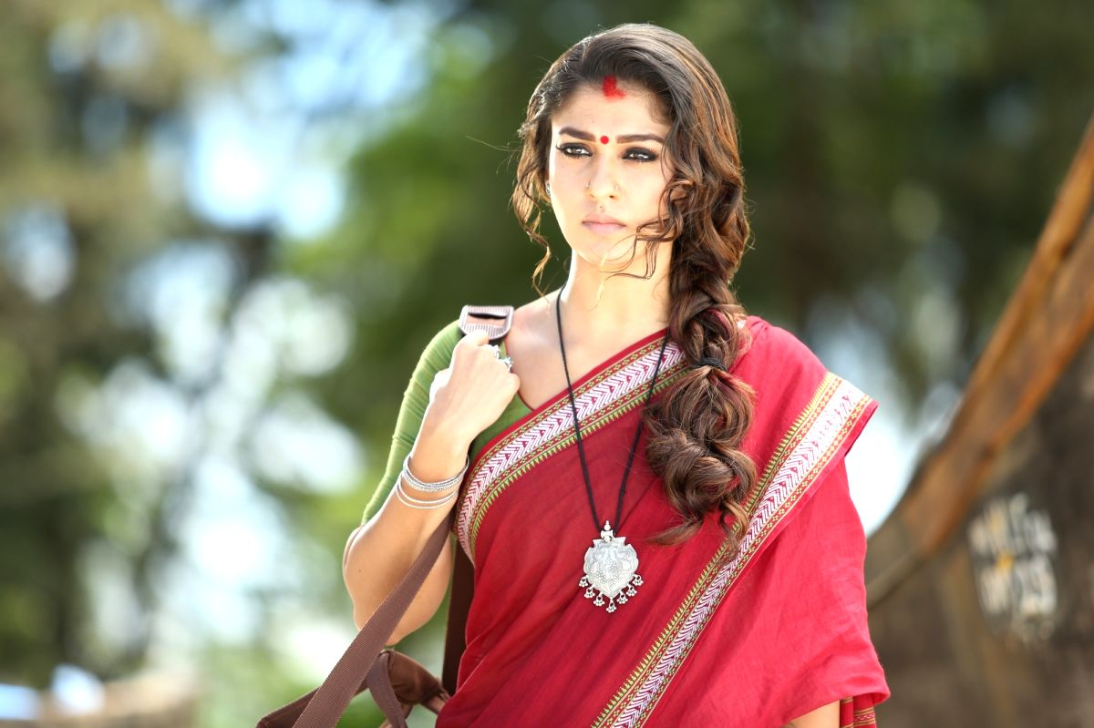 "Hyderabad: Actress Nayanthara at Telugu movie ""Vasuki"""
