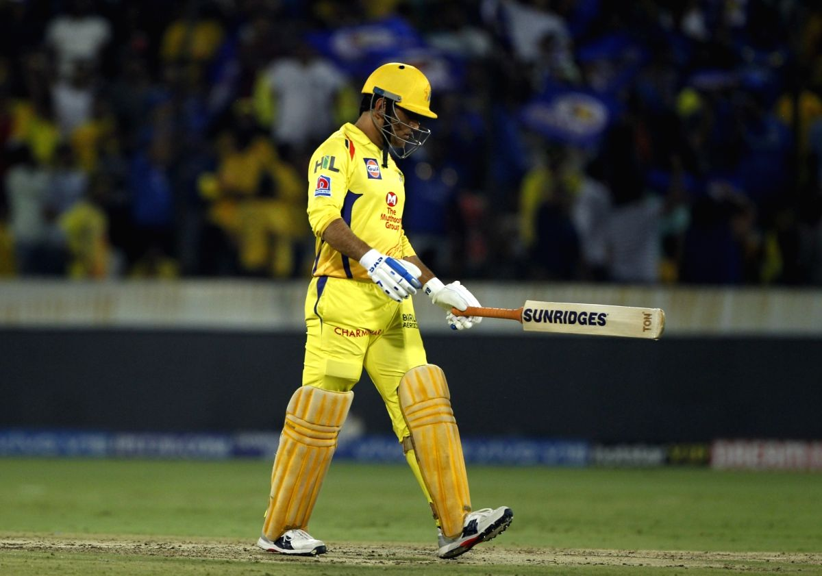 Hyderabad: Chennai Super Kings' skipper MS Dhoni walks back to the pavilion after getting dismissed during the Final match of IPL 2019 between Chennai Super Kings and Mumbai Indians at Rajiv Gandhi International Stadium in Hyderabad, on May 12, 2019.
