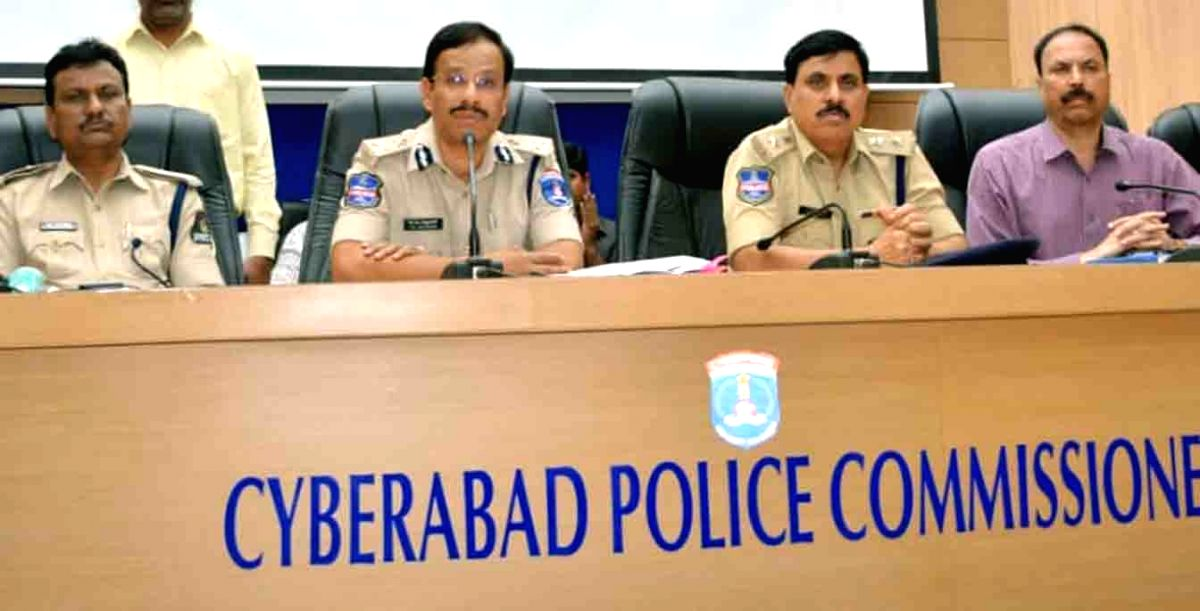 Hyderabad: Cyberabad Commissioner V C Sajjanar addresses a press conference regarding an alleged data theft case on Hyderabad-based IT Grids (India) Pvt. Ltd, in Hyderabad on March 4, 2019.