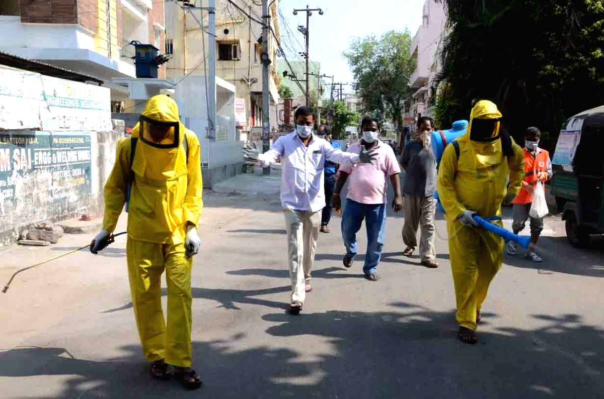 Hyderabad: Disinfectants being sprayed across different areas of Hyderabad on Day 4 of the lockdown imposed in the wake of the coronavirus pandemic, on March 28, 2020. (Photo IANS)