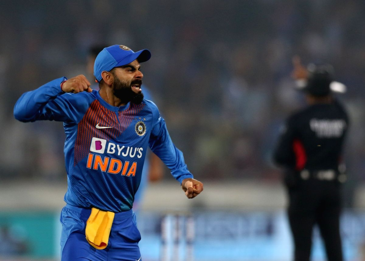 Hyderabad: Indian skipper Virat Kohli celebrates the wicket of Evin Lewis during the first T20I match between India and the West Indies at the Rajiv Gandhi International Stadium in Hyderabad on Dec 6, 2019. (Photo: Surjeet Yadav/IANS)