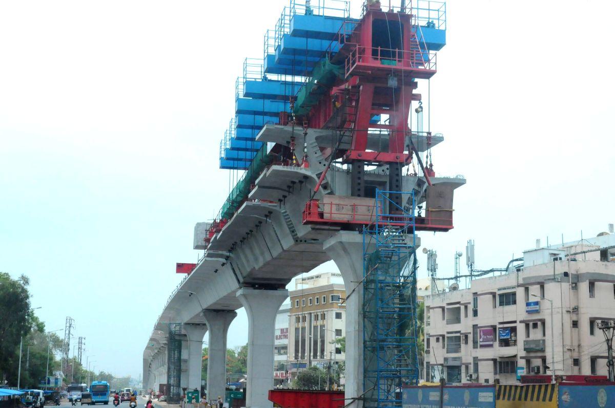 Hyderabad Metro Rail Manging Director  MVS Reddy inspecting  Hyderabad Metro Rail project in Hyderabad on June 2, 2013.