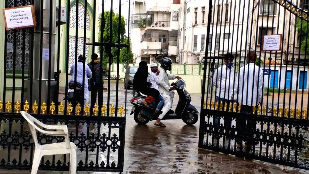Hyderabad: No entry for visitors at Telangana State Waqf Board Office in Haj House due to the ongoing COVID-19 sanitisation drive being conducted in the building in Hyderabad on June 18, 2020.