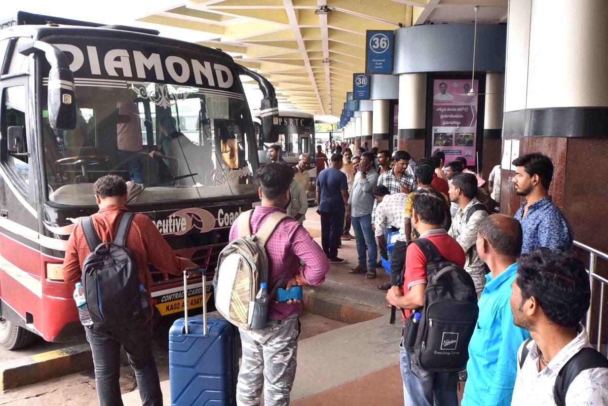 Hyderabad: Passengers left stranded after the transport services across Telangana were affected due to a day-long shutdown called by the employees of state-owned Telangana State Road Transport Corporation (TSRTC), in Hyderabad on Oct 19, 2019. (Photo