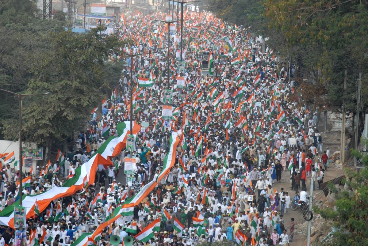Hyderabad: People participate in Tiranga rally to protest against the Citizenship Amendment Act (CAA) in Hyderabad on Jan 10, 2020.