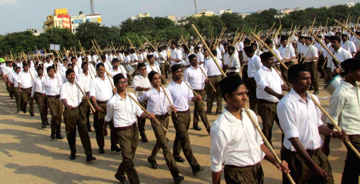 Hyderabad: Rashtriya Swayamsevak Sangh (RSS) activists participates in a Path Sanchalan march in Hyderabad on Sept 24, 2017.