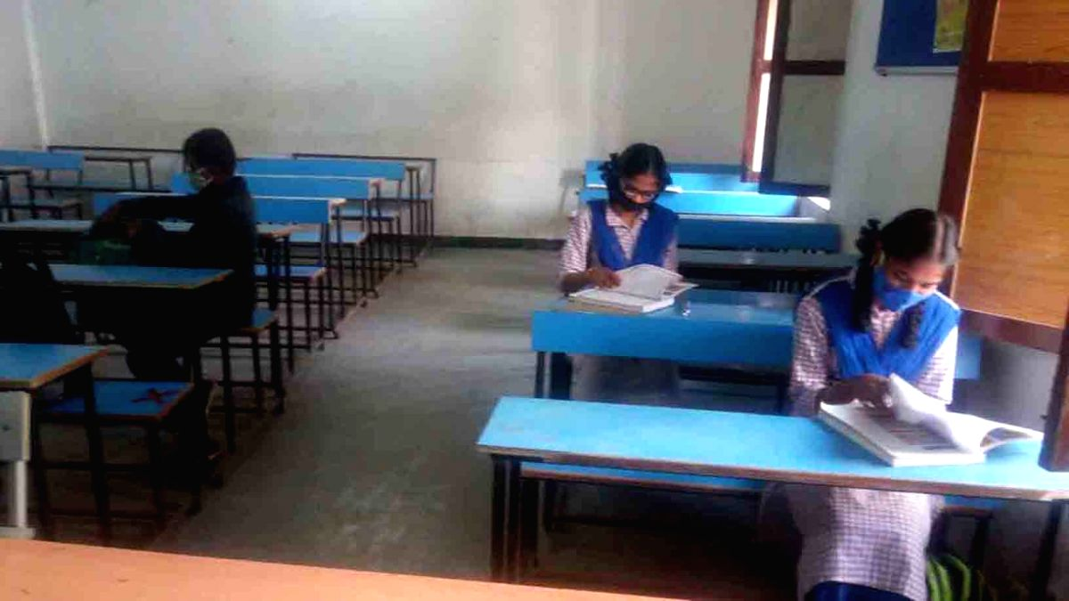 Hyderabad: Reopen Schools and colleges across the State reopened for physical classes on Monday after an unprecedented 10 months gap due to the Covid-19 pandemic.(Photo: snapsindia snapsindia/IANS)