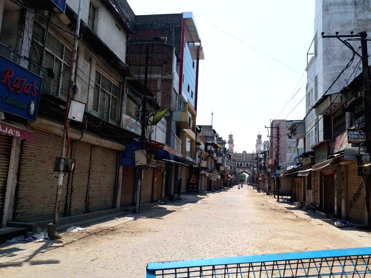 Hyderabad : Roads wore a deserted look in Hyderabad and the rest of Telangana on Wednesday morning as the 10-day lockdown began across the state to check the spread of Covid-19 on 12 May, 2021.(Photo:snapsIndia IANS)