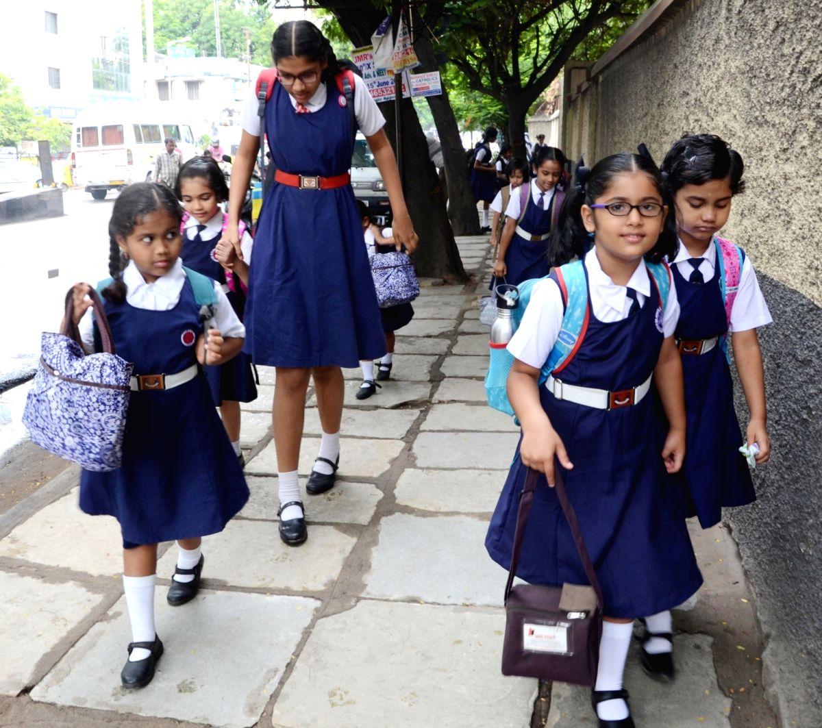 Hyderabad: Schools re-open after summer vacations in Hyderabad, on June 13, 2017.