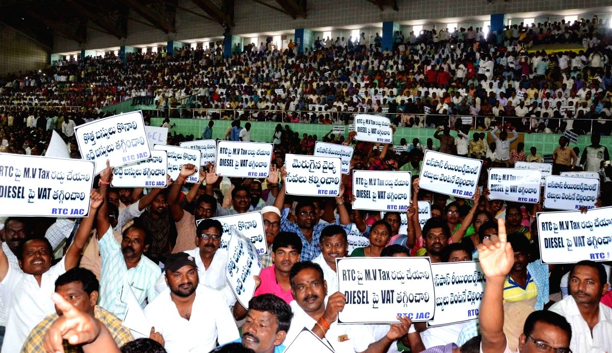Hyderabad: Striking TSRTC employees during a public meeting, in Hyderabad on Oct 30, 2019.