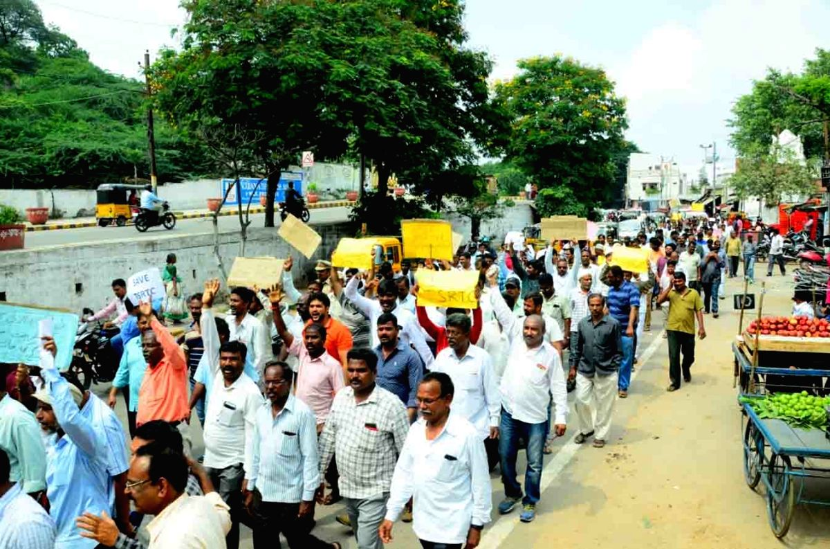 Hyderabad: Telangana State Road Transport Corporation (TSRTC) employees stage a demonstration in Hyderabad on Oct 15, 2019.