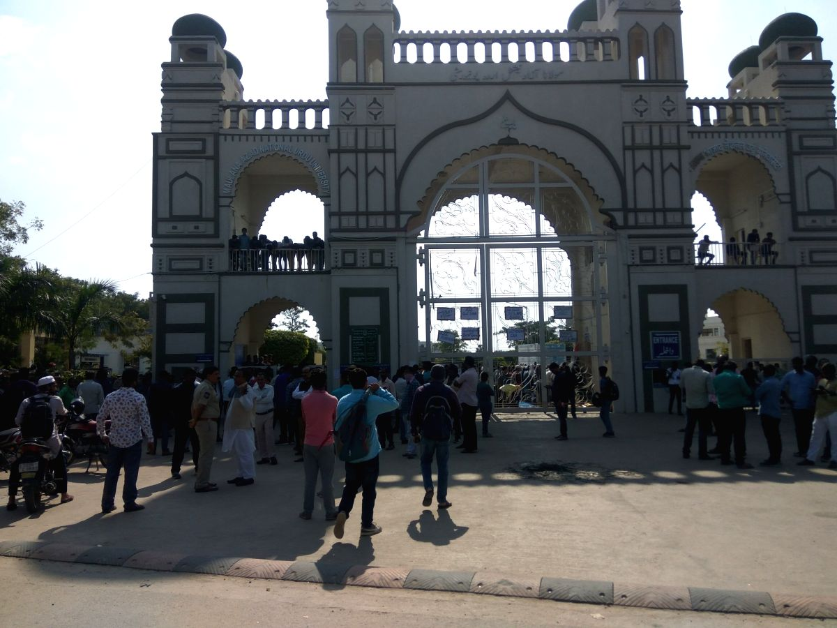 Hyderabad: The locked main gate of Moulana Azad National Urdu University during day-long protest by students in solidarity with the students of Jamia Millia Islamia and Aligarh Muslim University, in Hyderabad on Dec 16, 2019.