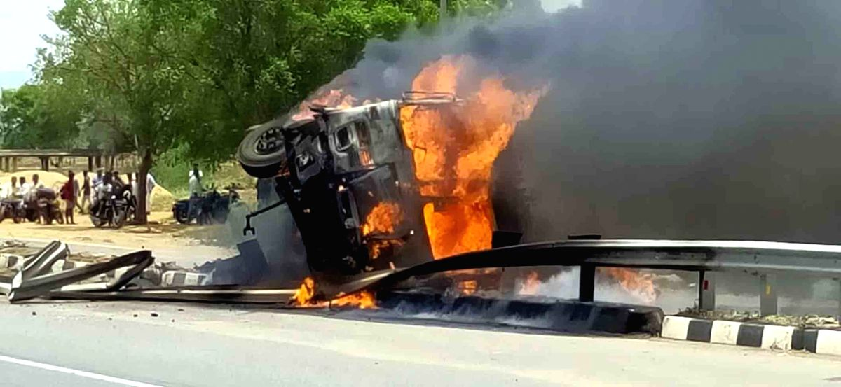 Hyderabad: The lorry that went into flames with its driver and cleaner burnt alive to death after it met with an accident on the Kadapa-Kurnool National Highway at Chinthakunta of Duvvur Mandal of YSR Kadapa district of Andhra Pradesh on June 7, 2020