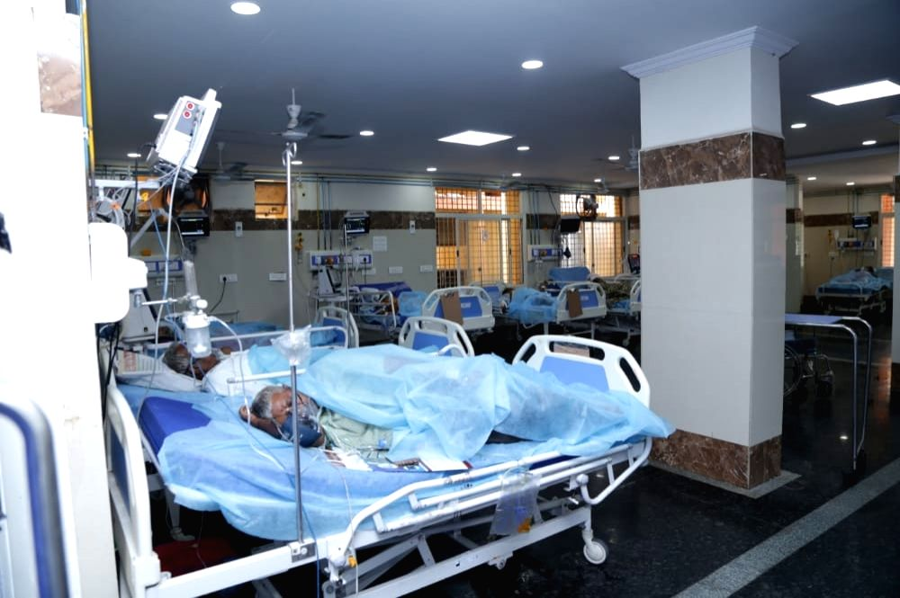 Hyderabad: Union MoS Home Affairs G. Kishan Reddy pays inspection visit to the COVID-19 ward of the Gandhi Hospital in Hyderabad on Aug 1, 2020.