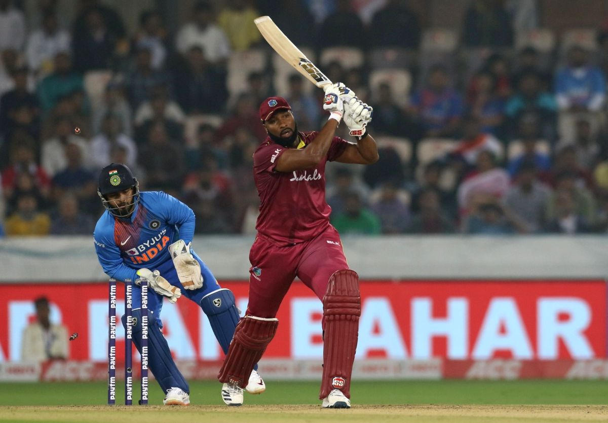 Hyderabad: West Indies' Kieron Pollard clean bowled by India's Yuzvendra Chahal during the first T20I match between India and West Indies at the Rajiv Gandhi International Stadium in Hyderabad on Dec 6, 2019. (Photo: Surjeet Yadav/IANS)